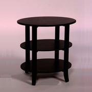 "TMS London 24"" x 24"" x 18"" Solid Wood/MDF 3-Tier Oval End Table, Black"