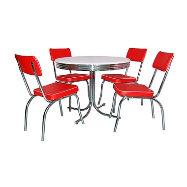 TMS Retro 30in. x 38in. x 38in. Metal 5 Piece Dining Set, White/Red