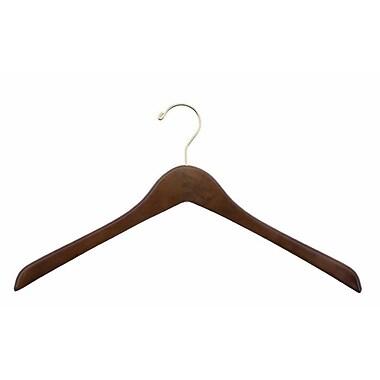 Wood Concave Jacket Hanger, Gold Hook, Walnut, 19