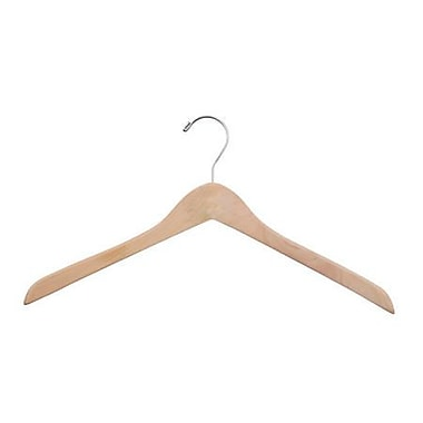 Wood Concave Jacket Hanger, Chrome Hook, Natural Waxed, 17