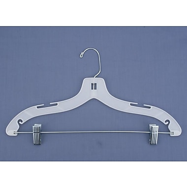 Plastic Hi-Impact Heavy Weight Suit Hanger With Metal Clips, White