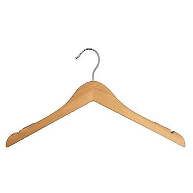 Wood Flat Top Hanger, Brushed Chrome Hook, Low Gloss Natural, 12