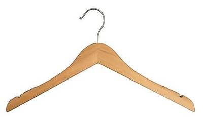 "NAHANCO 12"" Wood Flat Top Hanger, Brushed Chrome Hook, Low Gloss Natural, 100/Pack"