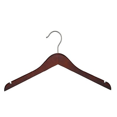 Wood Flat Top Hanger, Brushed Chrome Hook, Low Gloss Mahogany, 17