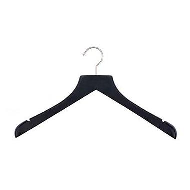 Wood Concave Jacket Hanger, Brushed Chrome Hook, Low Gloss Black, 17