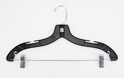 NAHANCO Plastic Shiny Heavy Weight Suit Hanger With Metal Clips, Black, 100/Pack
