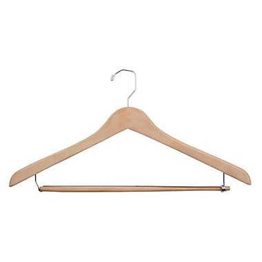Wood Concave Suit Hanger, Chrome Hook, Natural Waxed, 19