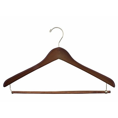 Wood Concave Ladies' Suit Hanger, Gold Hook, Walnut, 19