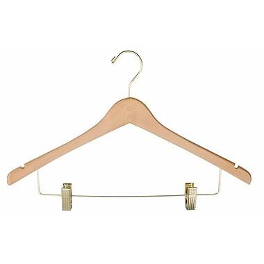 Wood Ladies' Suit Hanger, Gold Hook, Natural, 17