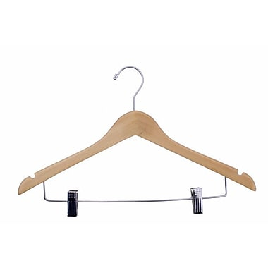 Wood Lacquered Ladies' Suit Hanger, Chrome Hook, Natural, 17