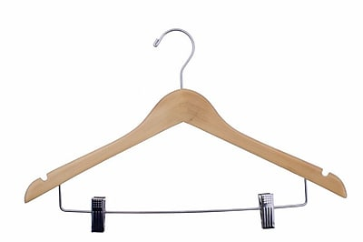 "NAHANCO 17"" Wood Lacquered Ladies' Suit Hanger, Chrome Hook, Natural, 100/Pack"