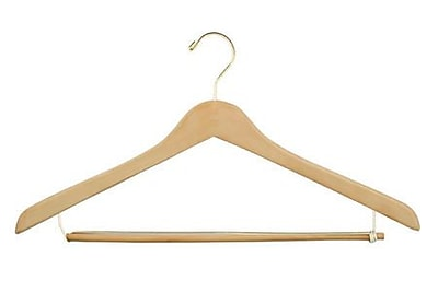 "NAHANCO 19"" Wood Concave Suit Hanger, Gold Hook, Natural, 100/Pack"