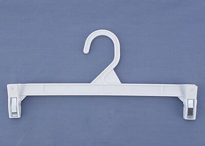 Plastic Skirt/Slack Hanger With Pinch Clip, White, 11 1/2