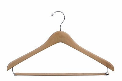 Wood Extra Thick Concave Suit Hanger, Chrome Hook, Natural Lacquered