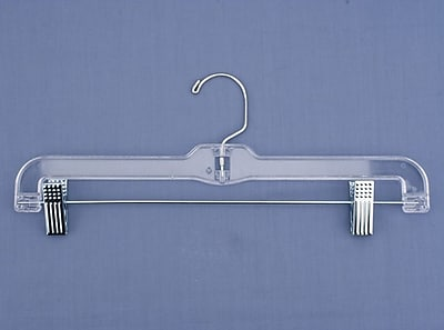 NAHANCO Plastic Jumbo Weight Skirt/Slack Hanger With Metal Clips, Clear, 100/Pack