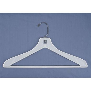 Flat One-Piece Plastic Suit Hanger, White