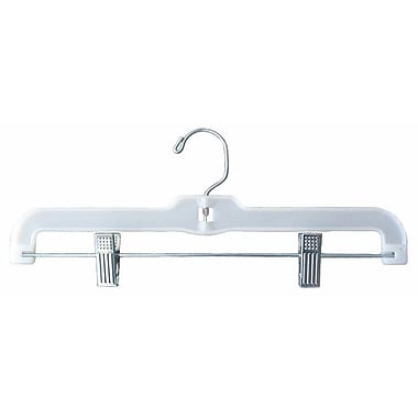 Plastic Hi-Impact Jumbo Weight Skirt/Slack Hanger With Metal Clips, White