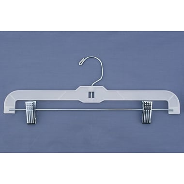 Plastic Hi-Impact Heavy Weight Skirt/Slack Hanger With Metal Clips, White, 14