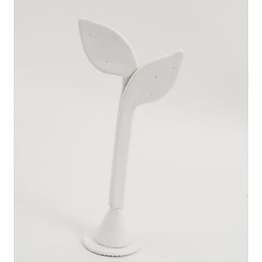 Leatherette Feather Shape Earring Display, White