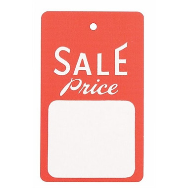Strung Sale Tag, Red/White, 1 3/4