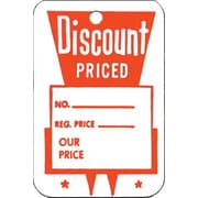 "Large Unstrung Discount Priced Tag, Red/White, 1 3/4"" x 2 7/8"""