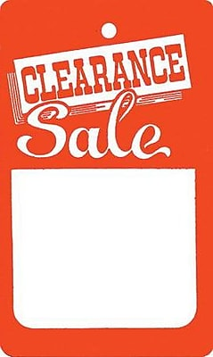 Unstrung Clearance Tag, Red/White, 1 3/4