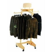 4 Way Solid Wood Clothing Rack With 2 Straight outs and 2 Waterfalls, Maple