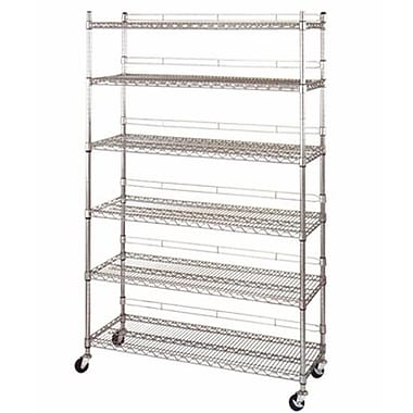 Heavy Duty Utility Rack With 6 Shelves and Casters, Chrome