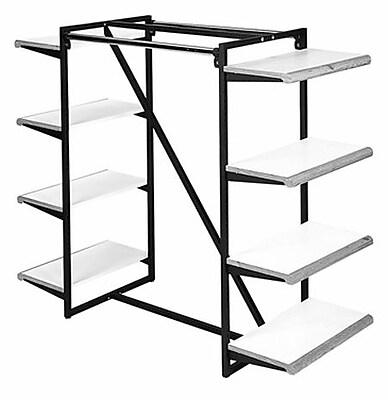 NAHANCO Designer 411 Double Hangrail Frame Square Tubing Garment Rack, Black/Black