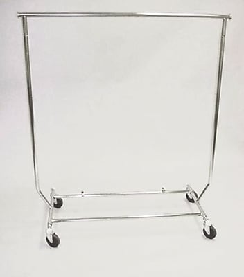 Round Tubing Collapsible Rolling Rack, Chrome