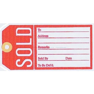 Sold Tag, Red/White, 2 5/8