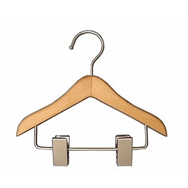 Wood Mini Hanger With Clips, Chrome Hook, 6