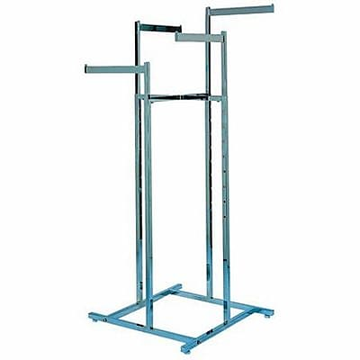"4 Way Square Tubing Garment Rack With 4 - 16"" Straight Arms, Satin Chrome"