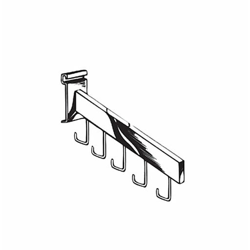 Square Tubing 5 Hook Waterfall, Chrome, 18 ""