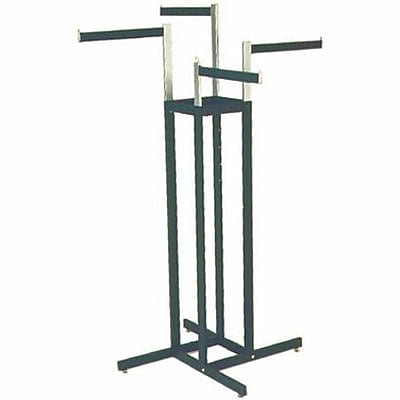 "4 Way Rectangular Tubing Garment Rack With 4 - 16"" Straight Arms, Black"