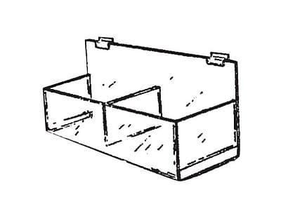 Acrylic Double Hosiery Bin For Pegboard, 15 1/4