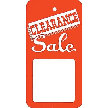 Large Strung Clearance Tag, Red/White, 1 7/8