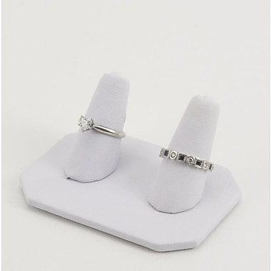 Leatherette Double Finger Ring Display, White, 3
