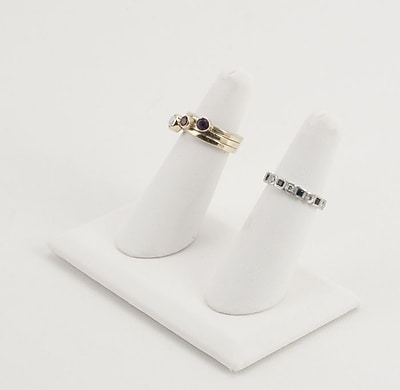 Leatherette Tall Double Finger Ring Display, White, 4