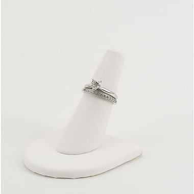 Leatherette Single Finger Ring Display, White