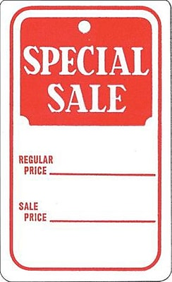 Strung Special Sale Tag, Red/White, 1 3/4