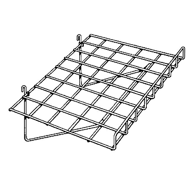 Slanted Slatwall/Gridwall Wire Shelf with 3