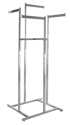 Econoco Square Tubing 4-Way Rack Space Saver With Straight Blade Arms, Satin Chrome