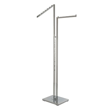 Econoco K22 2-Way Rack with One Straight Arm and One Slant Arm, Chrome, Square Tubing