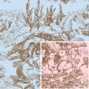 "Shamrock 24""W Baby Toile Reversible Gift Wrap, Light Pink/Light Blue"
