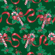 """Shamrock 24""""W Ribbons and Canes Gift Wrap, Red/Green"""