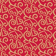 """Shamrock 24""""W Scrolled Hearts Gift Wrap, Gold/Red"""