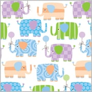 "Shamrock 24""W Baby Elephants Gift Wrap, White/Purple/Green/Blue/Orange"