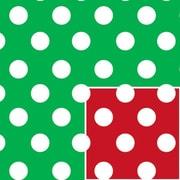 "Shamrock 24""W Christmas Polka Dot Reversible Gift Wrap, Red/Green/White"