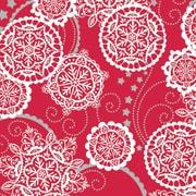 "Shamrock 24""W Lacy Snowflakes Gift Wrap, Silver/Red/White"
